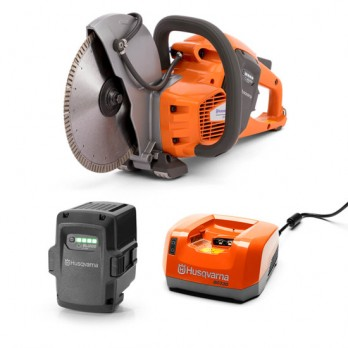 "Husqvarna K535i Battery Powered 9"" Cut Off Saw, Concrete Power Cutter 967795902 with Kit - 9"" Blade, BLi200 Battery & QC330 Charger"