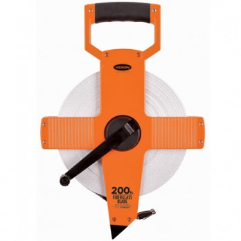 Keson 200' Two-Sided Fiberglass Blade Measuring Tape with Hook End - Feet, Inches, 8ths & Feet, 10ths, 100ths, OTR1810200