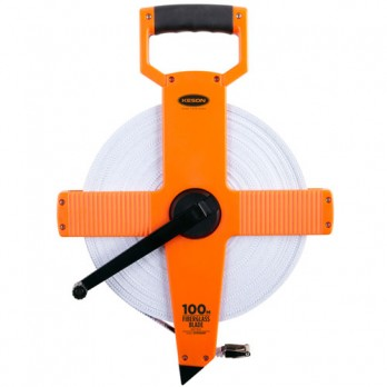 Keson 100' Two-Sided Fiberglass Blade Measuring Tape with Hook End - Feet, Inches, 8ths & Feet, 10ths, 100ths - OTR1810100