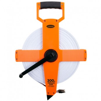 Keson 300' Two-Sided Fiberglass Blade Measuring Tape with Hook End - Feet, Inches, 8ths & Feet, 10ths, 100ths - OTR1810300