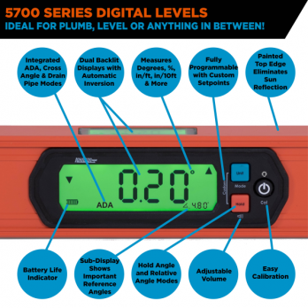 "24"" Waterproof Digital Level 5700-2400D by Johnson Level replaces 1880-2400"