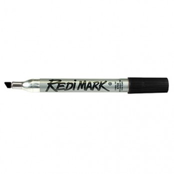 Dixon RediMark Chisel Tip Permanent Markers, Black, Metal Barrel - 12 Pack - 87170