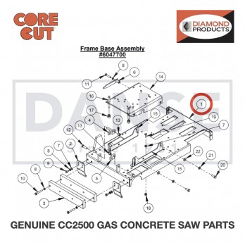 Frame Base 604790A for CC2500 Saw by Core Cut Diamond Products