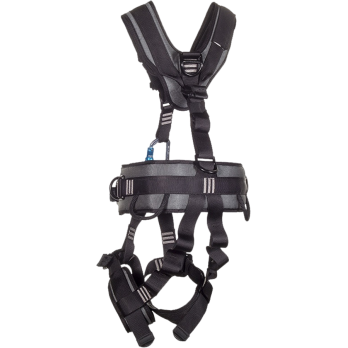 22030B-BLK Full Body Harness, dorsal dee, low back dee, sternum dee, front waist dee, hip dees,  padding on shoulders, back, waist and legs, Pass-thru buckle legs by FrenchCreek Production Black