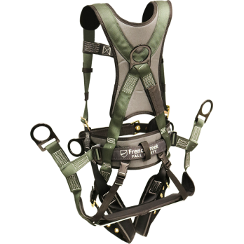 22850BH-ALT Full body harness, removable tool belt, pads on shoulders, back, waist and legs, Tongue Buckle legs, removable rigid saddle by FrenchCreek Production Green