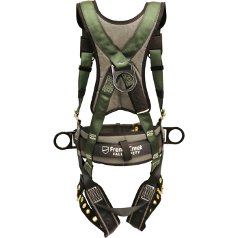 22850B Full Body Harness, single back dorsal d-ring, hip d-rings, waist pad w/removable tool belt, shoulder/back pad, leg pads, tongue buckle legs by FrenchCreek Production Green