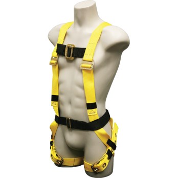 550 Full body harness, single back dorsal d-ring, sewn on belt, tongue buckle/grommet legs by FrenchCreek Production Yellow
