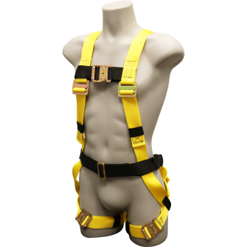570 Full body harness, single back dorsal d-ring, sewn on belt, bayonet buckle legs by FrenchCreek Production Yellow