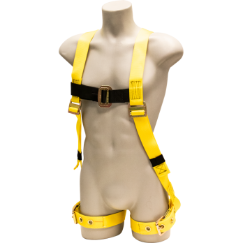 650 Full Body Harness, single back dorsal d-ring, tongue buckle/grommet legs by FrenchCreek Production Yellow