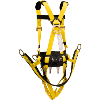 850ABTH Full Body Harness, back dorsal d-ring, hip positioning d-rings, chest d-ring, waist pad w/removable tool belt, removable suspension saddle with d-rings, shoulder pads, tongue buckle legs by FrenchCreek Production Yellow