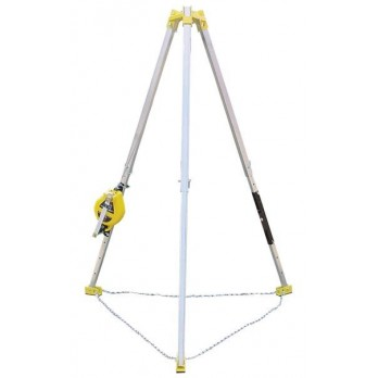 Confined space system with 7 ' Tripod, 50' Galvanised wire Winch SRL and Bag R50GTP7 by French Creek
