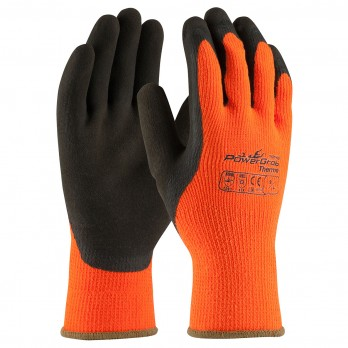 PowerGrab Thermo Hi-Vis Seamless Knit Acrylic Terry Gloves Latex MicroFinish Grip 41-1400 (1 Dozen)