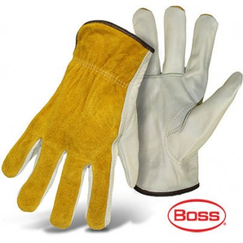 BOSS Grain Cowhide Leather Palm Drivers Glove, Split Leather Back (12 Pairs) 1JL9062