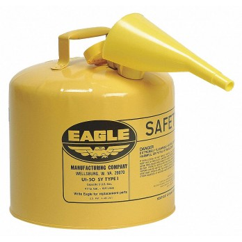 Eagle 5 Gallon Type I Safety Can, Yellow with F-15 Funnel, UI50FSY