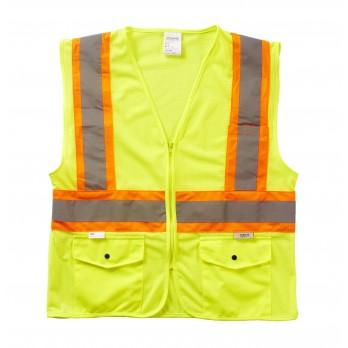 Xtreme Value Class 2 DOT Zip Vest, SV3355MZ Yellow Mesh Fabric