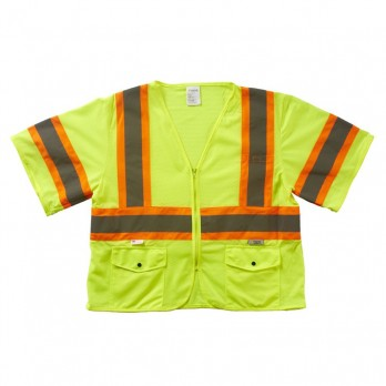 Xtreme Value Class 3 DOT Zip Vest SV93355MZ Yellow Mesh Fabric